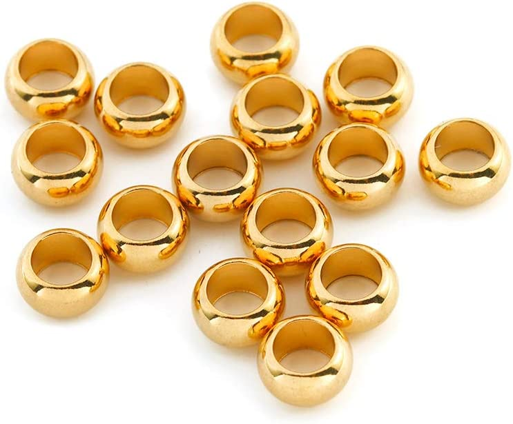 12 MM  Smooth  Brass Round Seamless Hollow Beads 20 Pcs.Hole 2.0 MM Large Beads