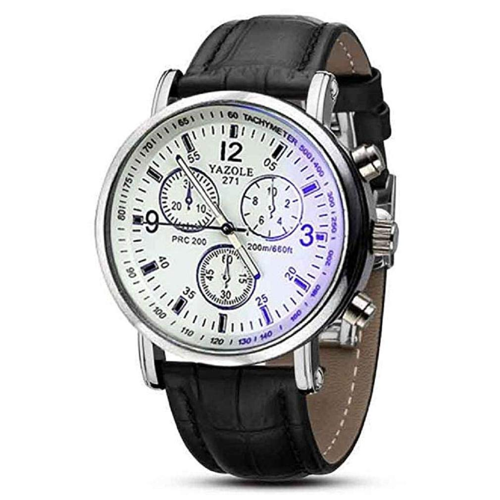 Amazon.com: Mens Watch,Unique Blue Window Interior Pointer Stainless Steel Round Dial Digital Watch Business Waterproof Watch with Comfortable PU Leather ...