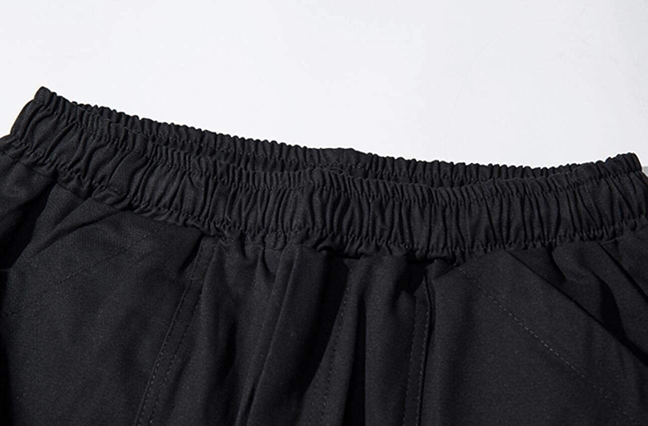 KLJR Men Elastic Waist Multi Pockets Straight Leg Casual Cargo Pant