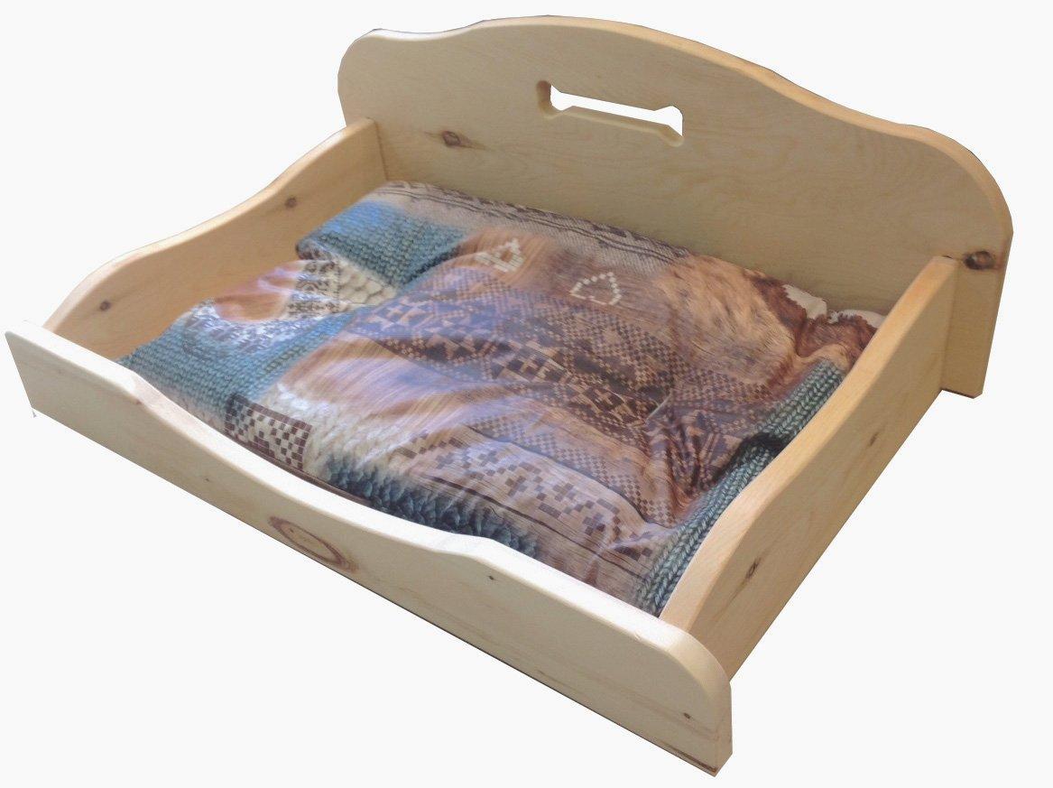 Caseta para perro en piedra natural madera de pino (510 x 850 mm grande). Sin barnices, sin partes metálicas. Totalmente de enclavamiento.