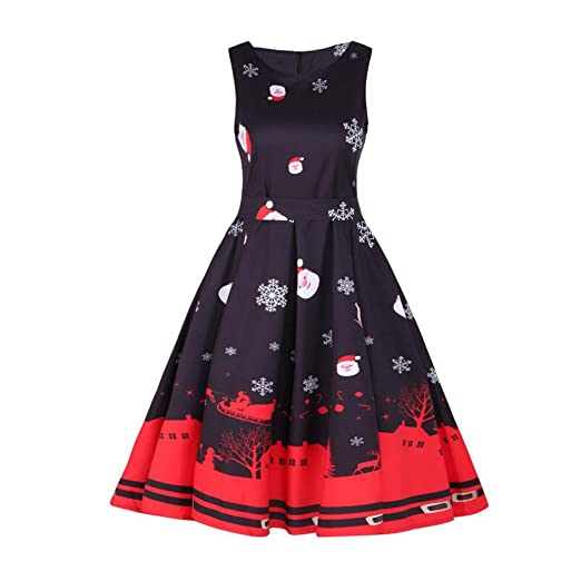 2fb430eeb12e Women Dress Christmas Daoroka Women's Vintage Santa Christmas 1950s Retro  Xmas Evening Prom Swing Sleeveless Printed