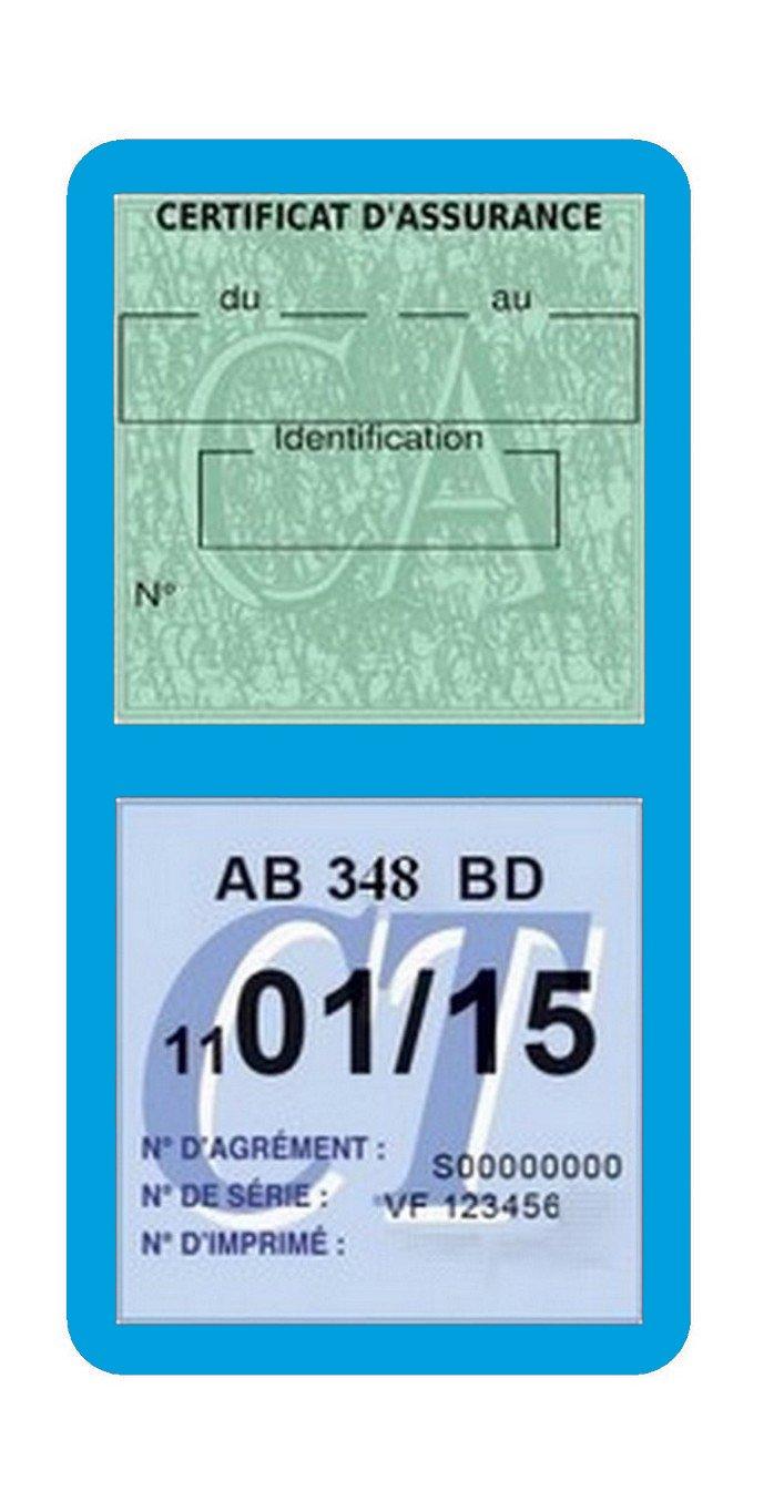 Gé né rique Porte é tui Double Vignette Assurance Voiture Neutre sans marquage Stickers Auto Ré tro (Bleu Clair) Générique
