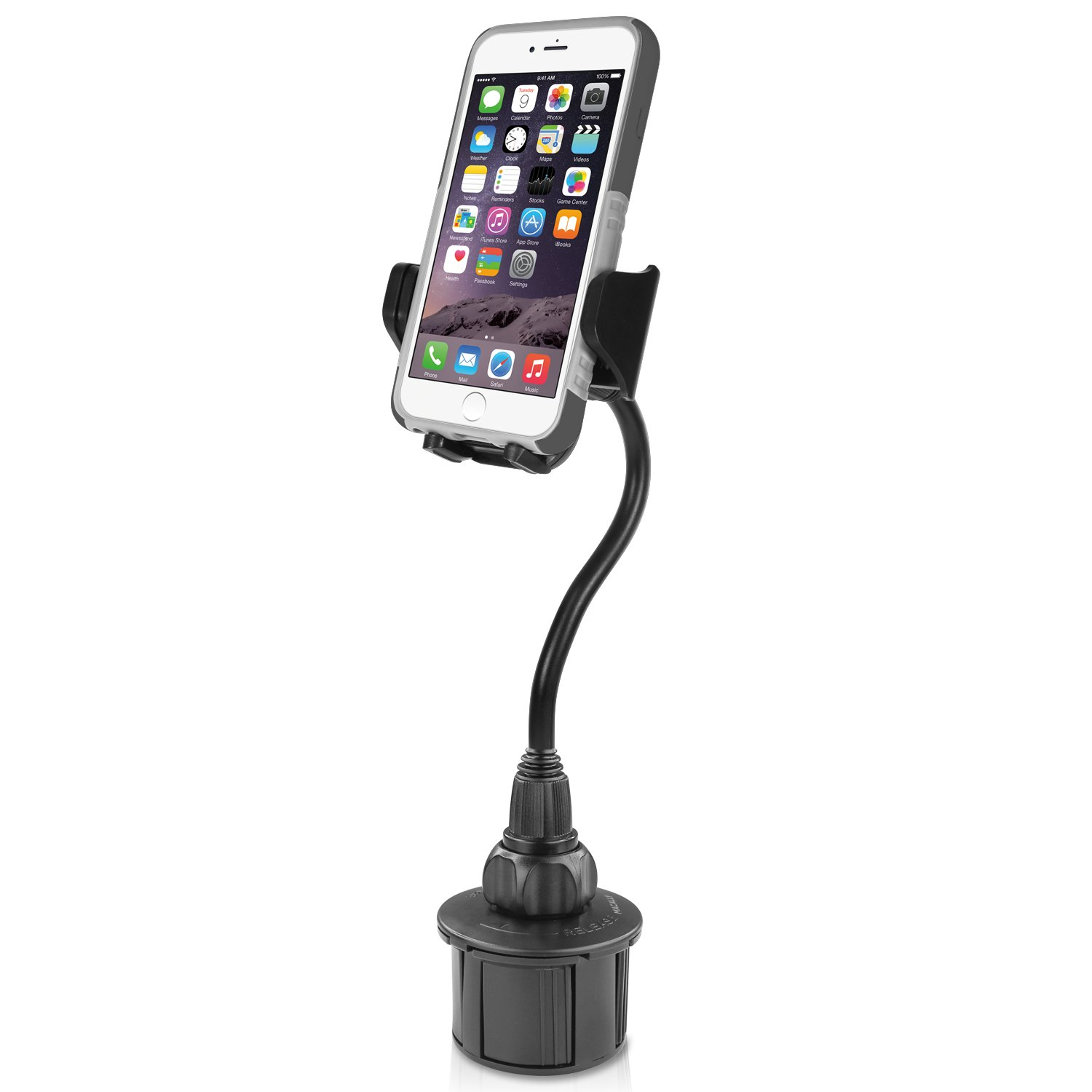 Macally Car Cup Holder Phone Mount with A Flexible Extra Long 8'' Neck for iPhone XS Max XR X 8 7 Plus 6 5S SE, Samsung S10 S10E S9 Plus S8, Motorola Moto, Google Pixel XL 3 (MCUP2XL) by Macally