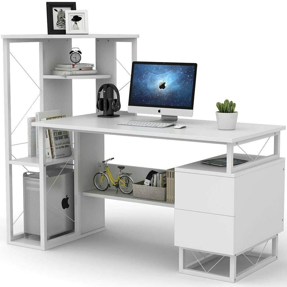 Efficient Home Laptop Notebook Computer Desk, Square Side Shelves with Multiple Racks and Drawers, Compact Desk for Home Office Desk
