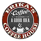 ERIKA'S Coffee House Chic Tin Sign Rustic Shabby Vintage style Retro Kitchen Bar Pub Coffee Shop man cave Decor Gift Ideas For Sale