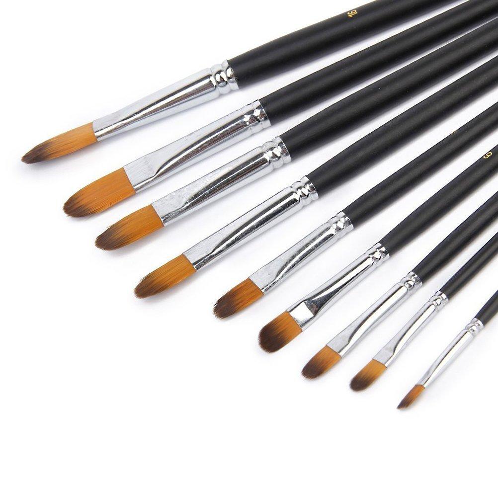9 pi/èces Winomo Pinceaux Peinture Acrylique Pinceau plat de artiste en bois pour la peinture acrylique /à l/'huile
