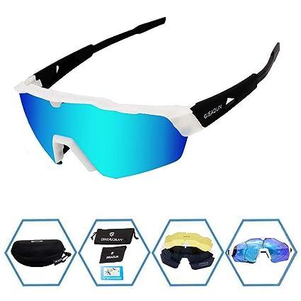 6cb389dfa7 GIEADUN anteojos de Sol Deportivas de protección para Ciclismo con 4 Lentes  Intercambiables polarizadas UV400 para