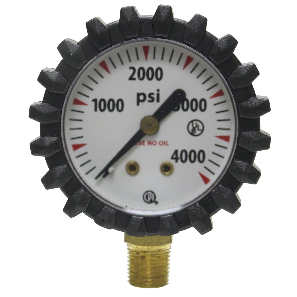 Uniweld G56D 1-1/2-Inch  4000 PSI Oxygen Replacement Contents Gauge with Protective Rubber Gauge Boots