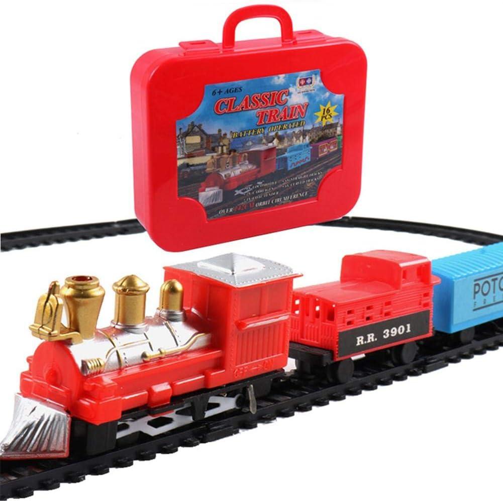 Hearthrousy Locomotora Electrica Ferrocarril Tren de Madera Modelo de Juguete para Niños Tren Electrico Juguetes para Bebés Juguete Ferroviario Eléctrico Navideño para Chicas Jóvenes