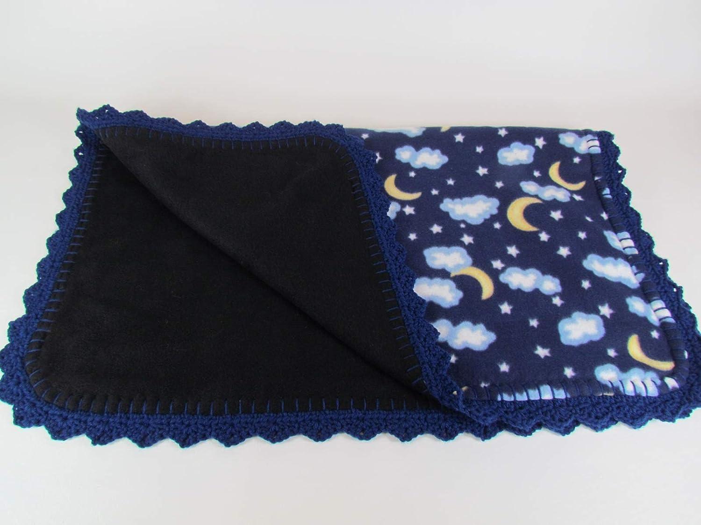 Moon and Stars Fleece Baby Blanket in Blue