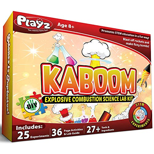 Playz Kaboom! Explosive Combustion Science Lab Kit - 25+ STEM Experiments - DIY Make Your Own Rockets, Helium Balloons, Fizzy Bombs, Color Explosions and More with Fun Chemical Reactions! (Best Chemistry Kits For Kids)