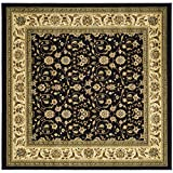 Safavieh Lyndhurst Collection LNH316B Traditional Oriental Black and Ivory Square Area Rug (8' Square)