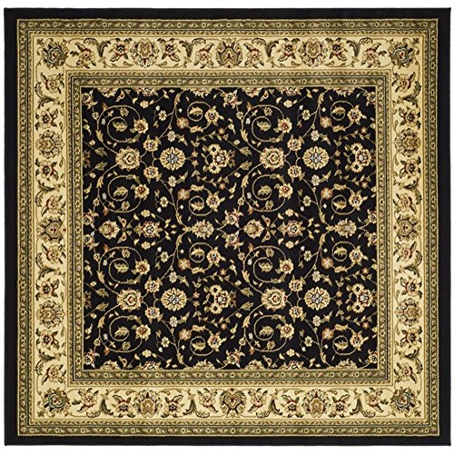 Safavieh Lyndhurst Collection LNH316B Traditional Oriental Black and Ivory Square Area Rug (8' Square) by Safavieh