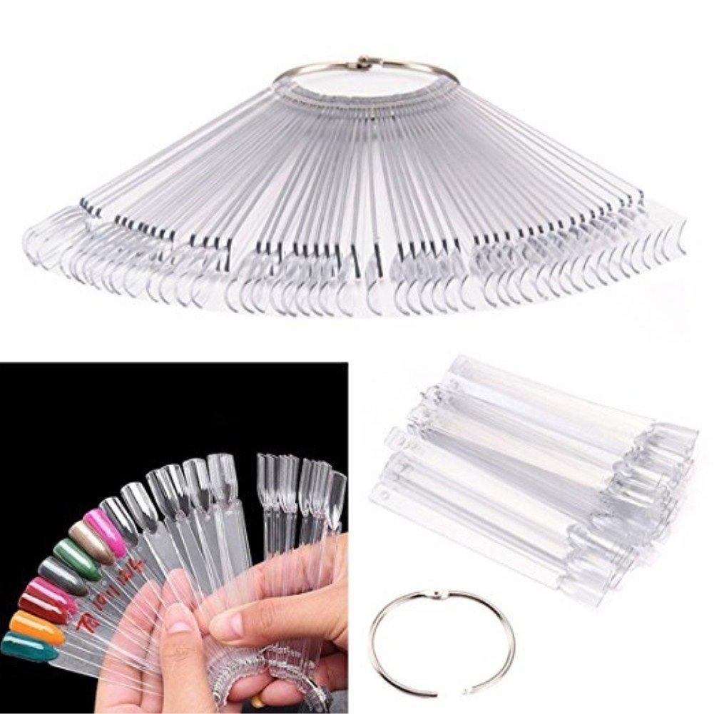 Vikenner 50 Pcs Clear False Nail Art Tips Colour Pop Sticks Polish Display Fan Practice Starter Ring