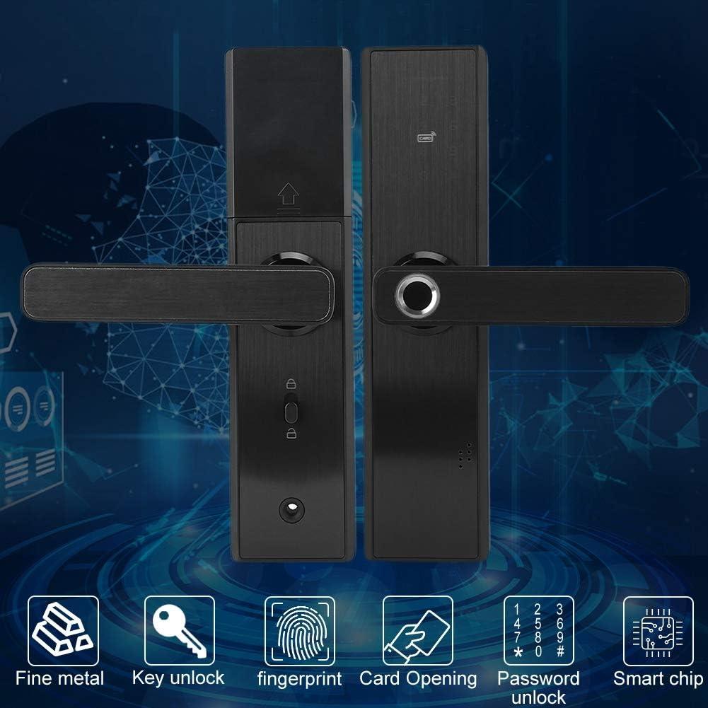 4 in 1 Fingerprint//Card//Password//Key Anti-theft Door Lock Touch Digital Electronic Door Lock Fingerprint Smart Door Lock Support Left//Right Opening