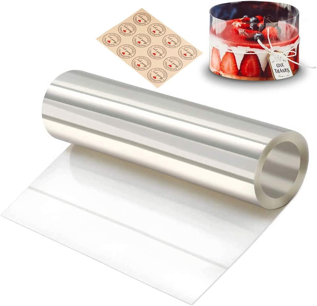 Gutsdoor Cake Collars 6.3 x 394inch Clear Acetate Strips, Transparent Mousse Cake Rolls Acetate Cake Collar for Chocolate Mousse Baking Cake Decorating Acetate Roll