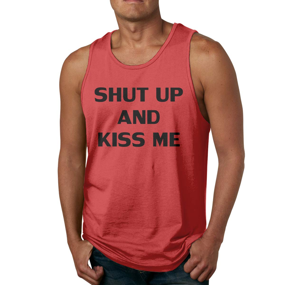 Mans Fashion Solid Color Round Neck Shut UP and KISS ME Gym Tank Undershirts