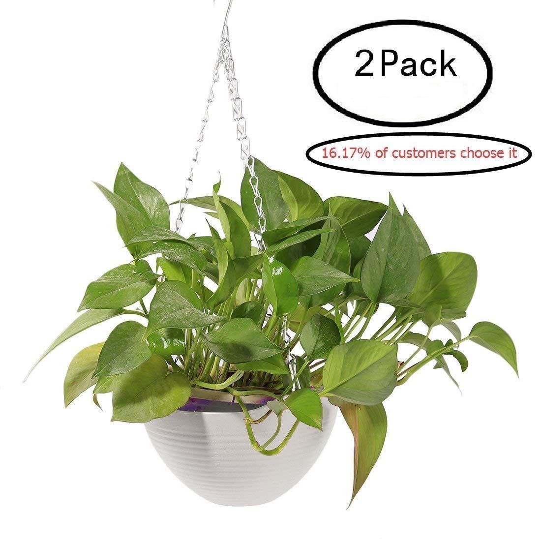 2Pcs Hanging Flower Plant Pots,Hmane Chain Plastic Basket Planter Holder Patio Home Decoration - 7.87x7.87x5.51inch
