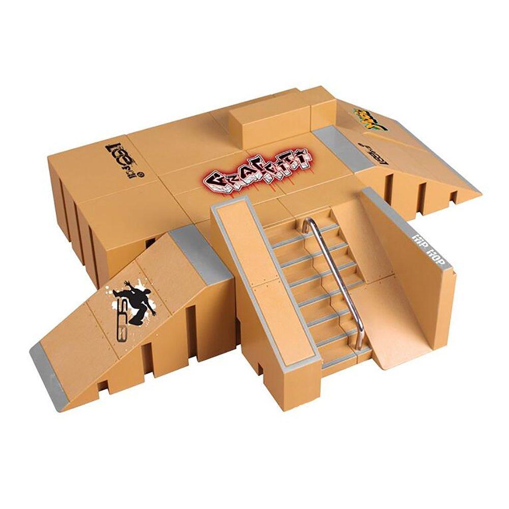 OurKosmos® 8pcs Skate Park Kit Ramp Teile für Tech Deck Circuit Board Mini Finger Skateboard Finger Ultimative Parks (die Finger Boards inklusive)