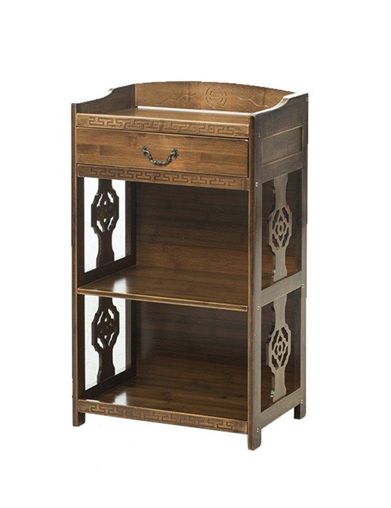 SUBBYE Étagères de rangement Bibliothèque En Bambou Antique Avec Tiroir Casiers Simples Style De Plancher Creative
