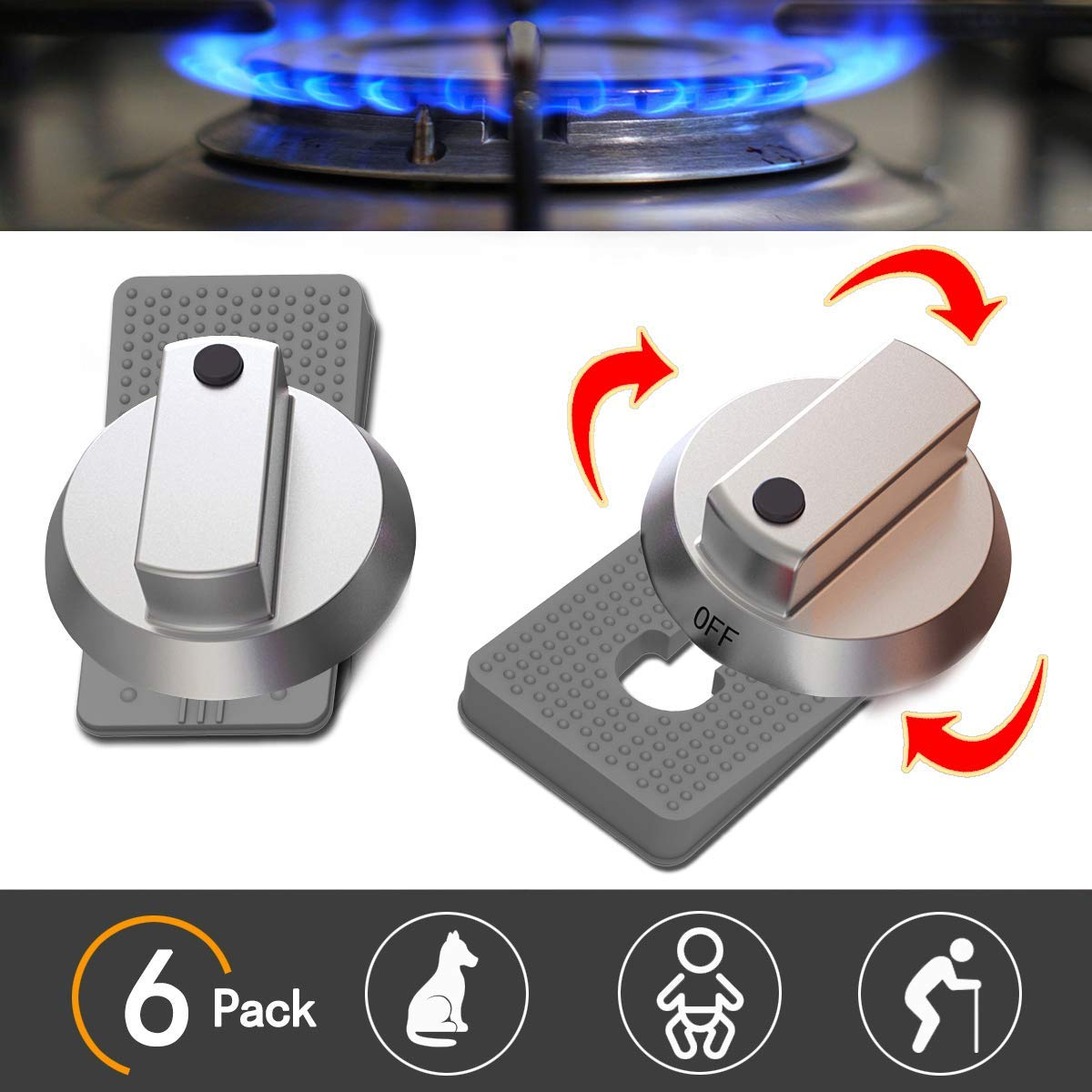 Baby Safety Oven Knob Locks - Childproof and Pet Kitchen Gas Stove Safety Guard (6PACK) (Grey)