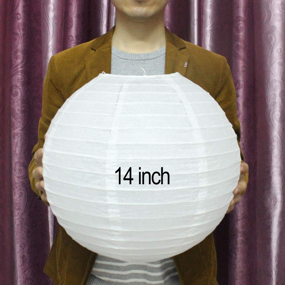 Calvas 400pcs 14'' Chinese Panterna Papel Round Paper Ball Lanterns for Wedding Birthday Party Decoration Shipping via DHL - (Color: White, Lantern Size: 14inch)