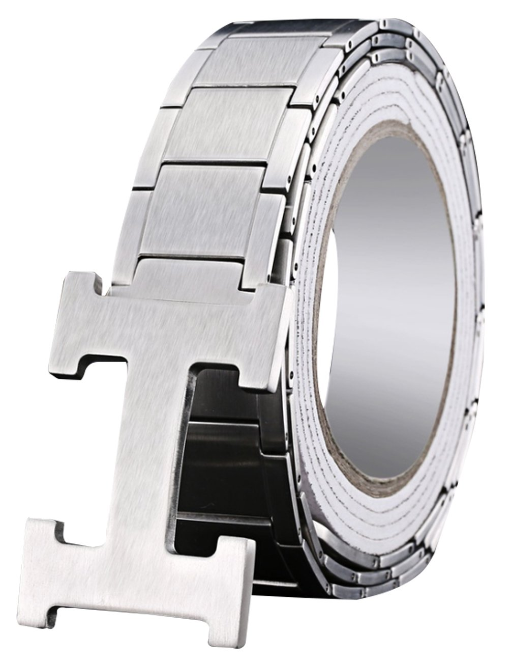 Menschwear Men's Stainless Steel Belt Slide Buckle Adjustable 32mm Silver 110cm