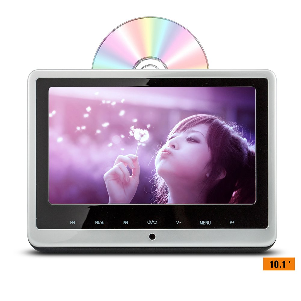 DDAUTO Car Headrest DVD Player 10.1 inch Suction Type DVD Lens Supports HDMI FM SD USB(Shine Sliver)