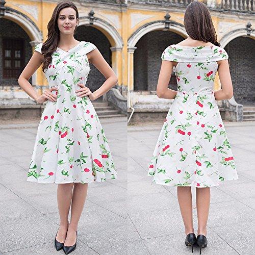 Ruiyige - Vestido - para mujer Mancherons-Impression Cerise Blanc
