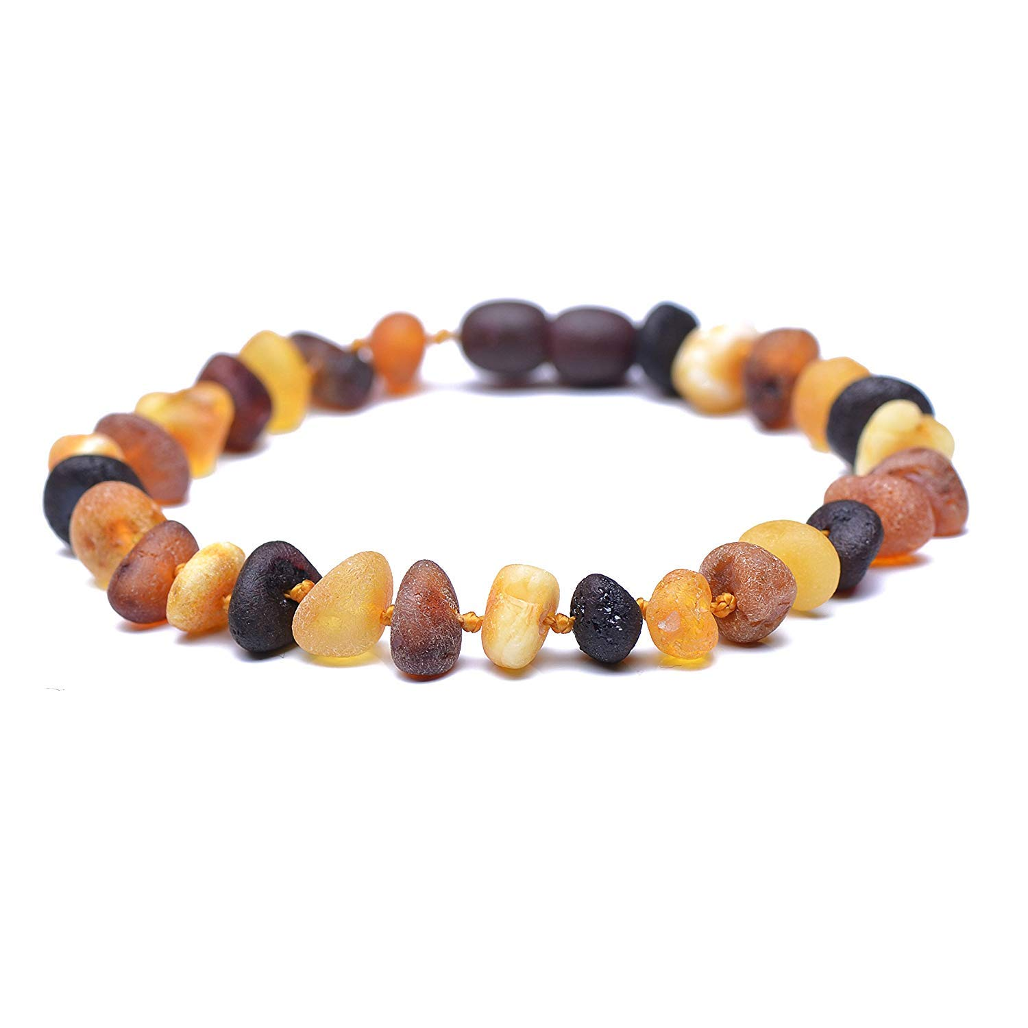 Raw Baltic Amber Bracelet for Adults - Authentic Certified Baltic Amber - Knotted Between Beads - with Screw Clasp - Genuine Baltic Amber (7.8 Inches, Mixed5) by Genuine Amber