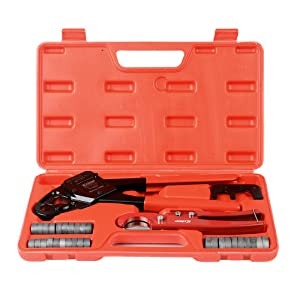 """IWISS IWS-1234W Angel Combo PEX Pipe Crimping Tool Set for 1/2""""&3/4"""" PEX Pipe with free Copper Rings&Cutter&Gauge for All US F1807 Standards - Portable Case"""