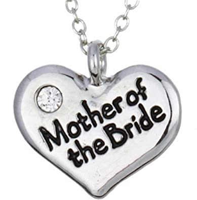 womens letter mother of the bride heart pendant white gold plated necklace engraved wedding friend gift