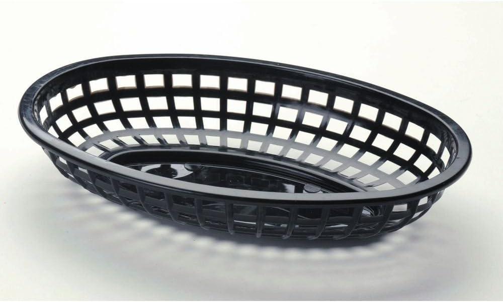 Tablecraft 1074 Oval Sandwich Basket, Black, Case of 12