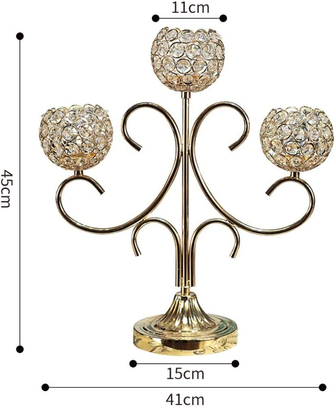 Amazon Com Diaod Crystal Metal Votive Candle Holder 3 Arms Candle Stick Table Centerpieces For Wedding Decor Home Crafts Tealight Candle Holders Home Kitchen
