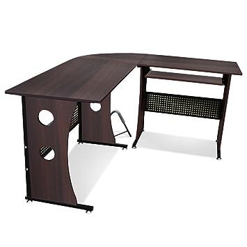 bigzzia escritorio de esquina para estudio ordenador juegos en casa oficina
