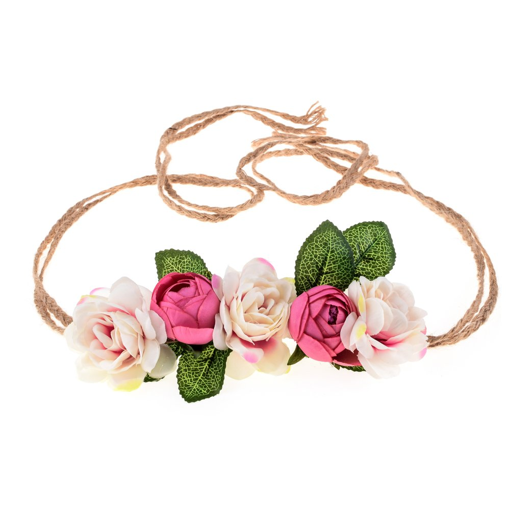 Love Sweety Nature Flower Headband Floral Crown Wreath for Lawn Wedding (Pink Peach)