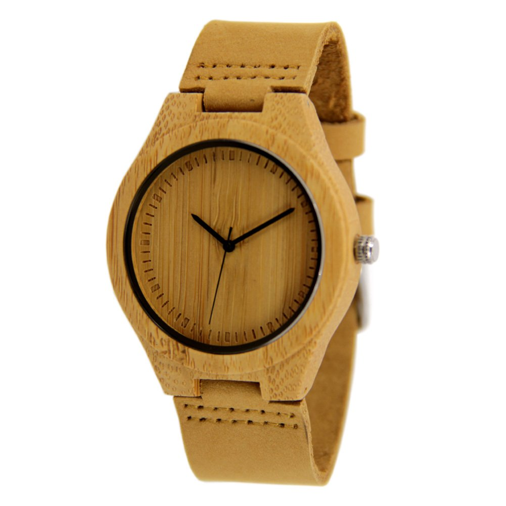 Bamboo Watches for Men with Genuine Leather Strap Gift Watch