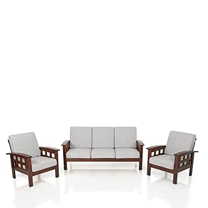 0e5e5409064 Royaloak Sydney Sofa Set 3+1+1 (Walnut)  Amazon.in  Home   Kitchen
