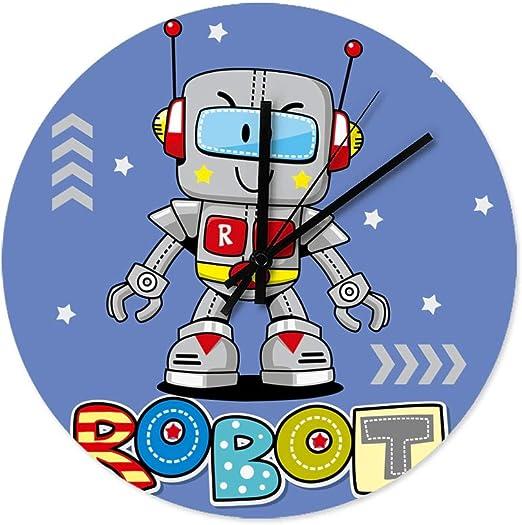 Fanaxii Reloj de Pared Infantil de Madera con diseño de Robot, para la Oficina, el salón, el Dormitorio, la habitación de los niños, la Cocina, sin Ruido de Tic-TAC, Blanco, 30x30x0.5cm: Amazon.es: