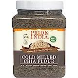 Pride Of India - Raw Black Chia Seed Meal Flour - Cold Milled - Omega-3 & Fiber Superfood, 1 Pound (16oz) Jar