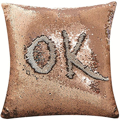 DECOSY Decorative Glitter Sequin Throw Pillow Cover 1 Piece 16 by 16 inches - Painting or Writing with Finger for Halloween Christmas Day - Square Pillow Case for Home Couch Sofa Chair Car Cafe