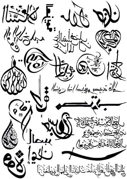 Tatuajes temporales de caligrafía árabe para hombre y mujer ...