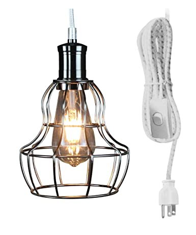 Home Concept 1 Light Brushed Nickel 17 Plug In Swag Light with Polished Nickel Cage Pendant, Vintage Dimmable LED Bulb and Switch On Cord, hallway, verandas Brushed Nickel, One-light