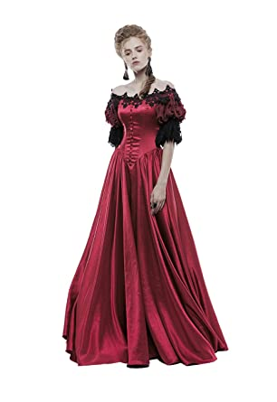 ef428ef8565 Amazon.com  Punk Puff Sleeves Long Dresses for Women Victorian Vintage Off  Shoulder Prom Dress Corset Dress Performance Costume Ladiy  Clothing