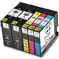 Miss Deer HP970/971 Ink 4 Pack Compatible Cartridge Ink Replacement for Inkjet Printer X451dn X451dw X476dw X476dn X551dw X576dw (1 Black, 1 Cyan, 1 Megenta, 1 Yellow)