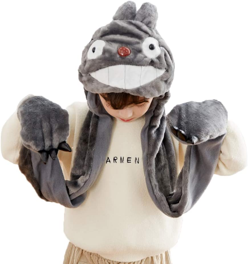 PULAMA Novelty Animal Cosplay Cap - Warm Headwraps with Mittens (Totoro Without Finger Puppets)