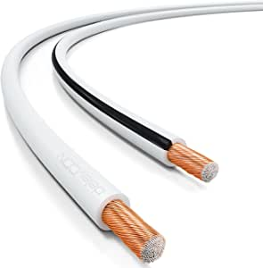 50x0,25mm Trenza 2X 2,5mm/² deleyCON 10m Cable de Altavoz Aluminio Recubierto de Cobre Marca de Polaridad Blanco
