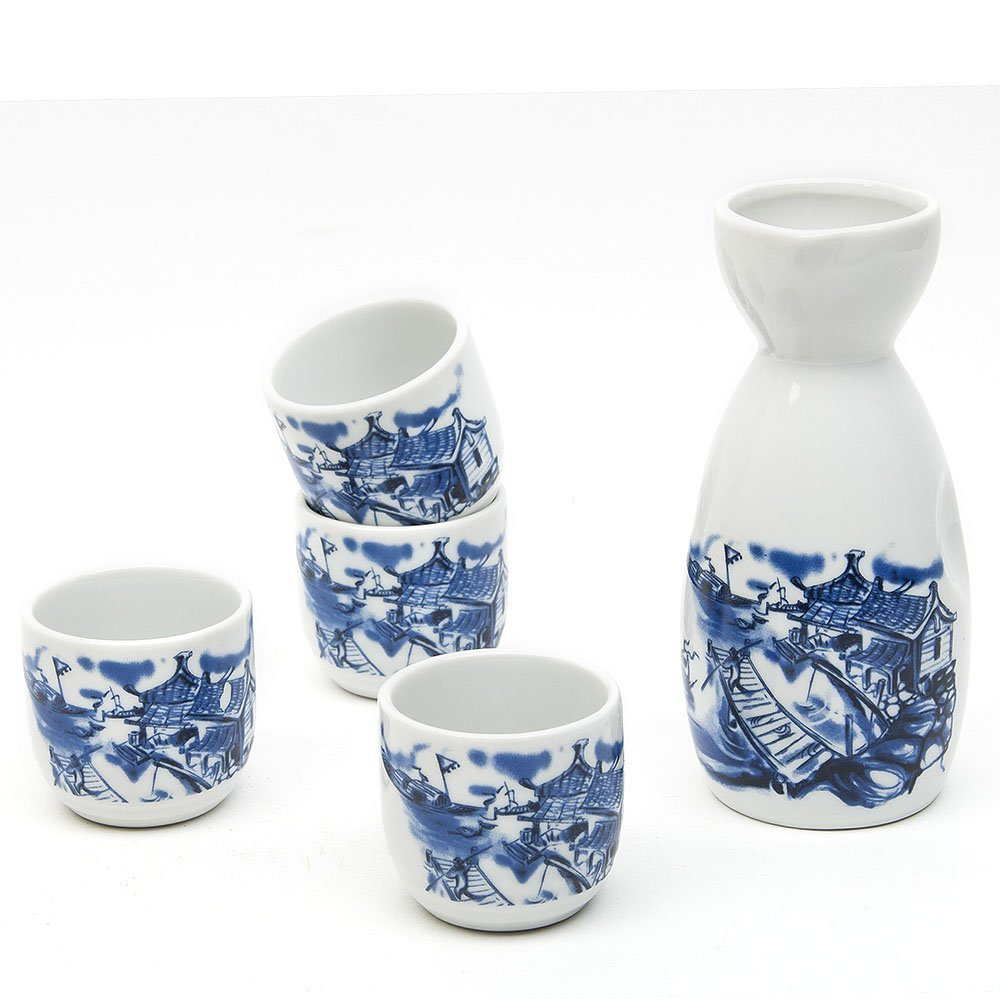 Japanese Sake Set, 5 Pieces Sake Set Hand Painted Retro House Design Porcelain Pottery Traditional Ceramic Cup Craft Wine Glasses(Blue)