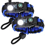 Nexfinity One Survival Paracord Bracelet - Tactical Emergency Gear Kit with SOS LED Light, Knife, 550 Grade, Adjustable, Mult