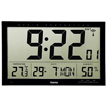 Hama Jumbo Digital wall clock Rectángulo Negro - Reloj de pared (AA, 1,